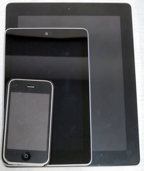iPad 2,Nexus 7,iPhone 3GS比較