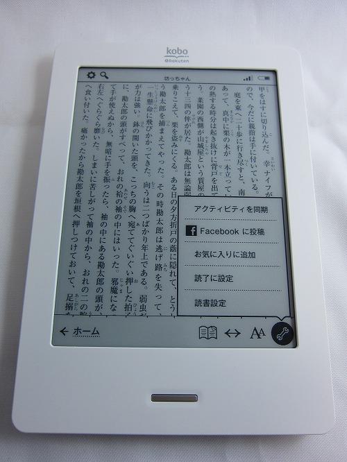 楽天「kobo Touch」青空文庫 読書メニュー詳細設定表示