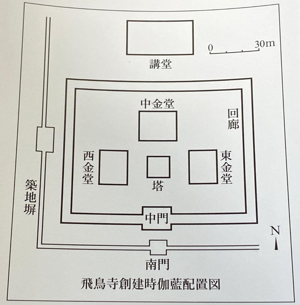 飛鳥寺パンフレット 飛鳥寺創建時伽藍配置図