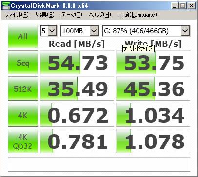 マザーボード接続HDD 100MB