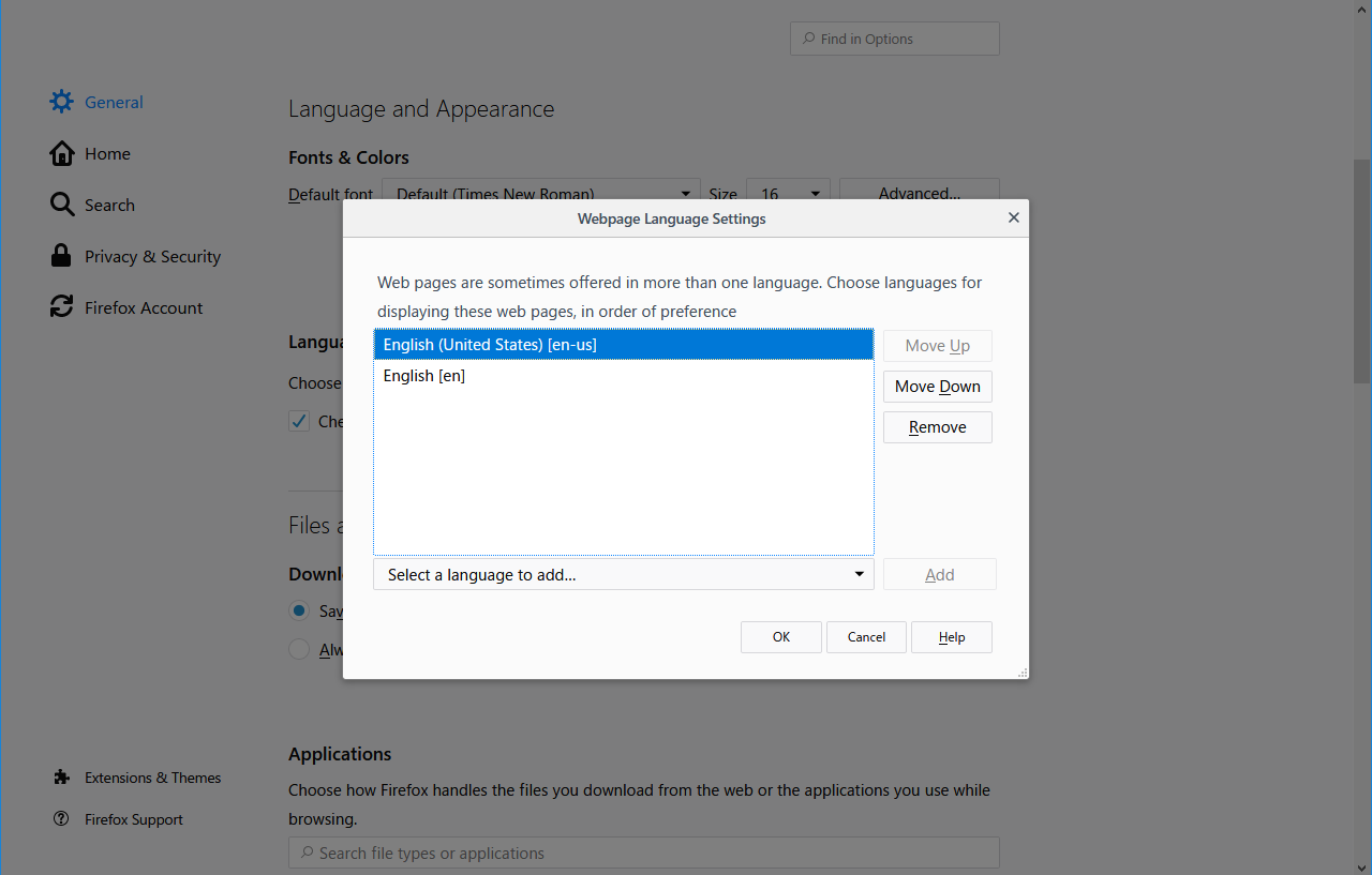 Webpage Language Setting