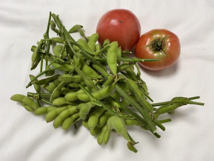 地場野菜の枝豆とトマト