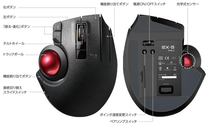 """エレコムHP(トラックボール""""EX-G PRO""""(親指操作タイプ) – M-XPT1MRBK)より引用"""