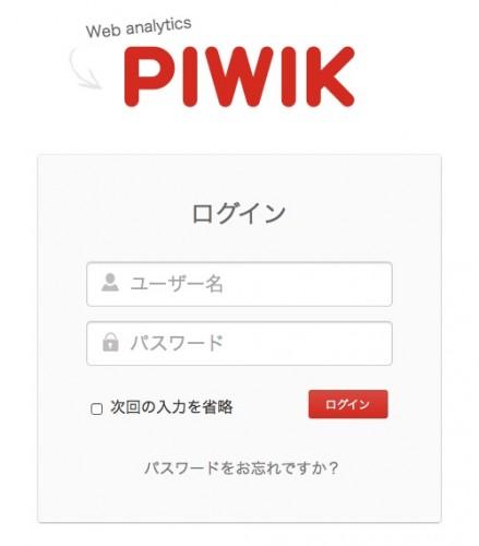 Piwik ログイン画面