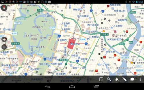 初回起動時 東京駅周辺地図