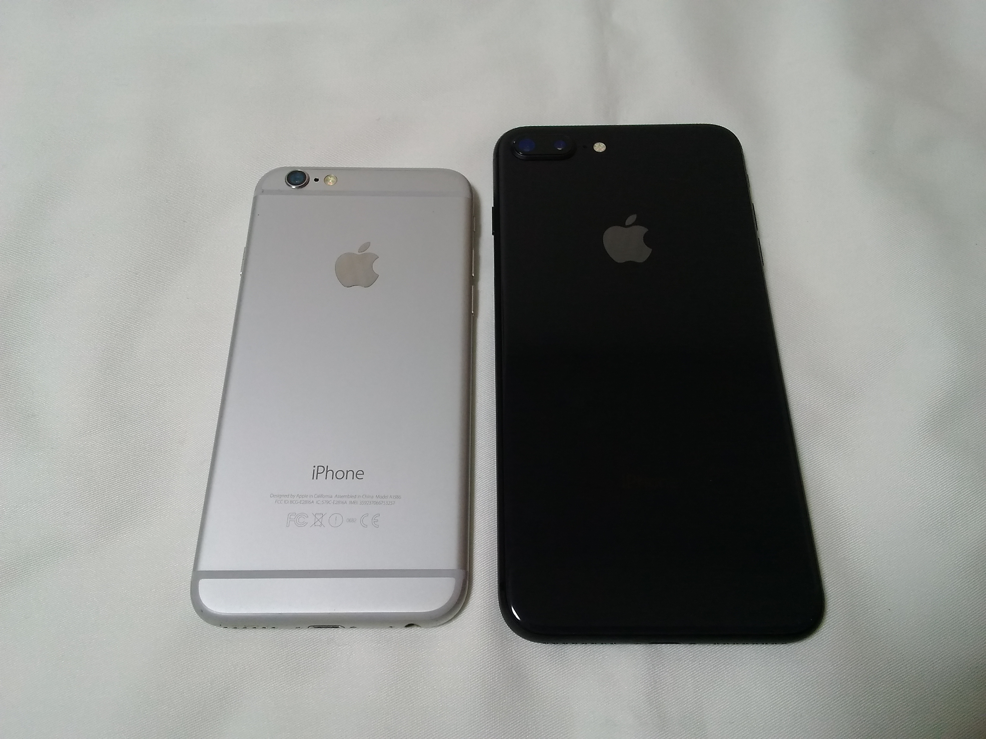 iPhone 8 plusとiPhone 6のサイズ比較