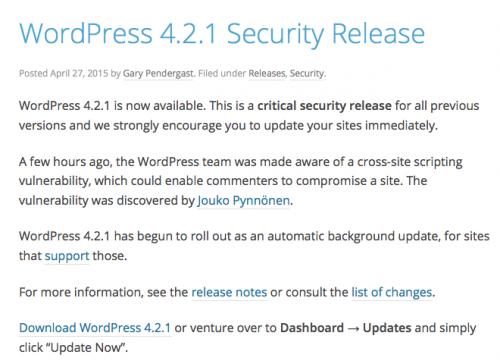 WordPress 4.2.1 Security Release